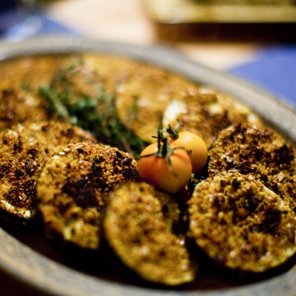 Baked 'Seed Breaded' Curried Eggplant