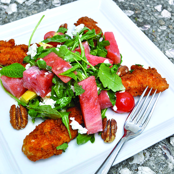 Fried Chicken and Watermelon Salad