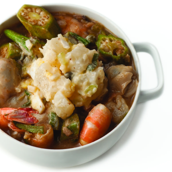 Mississippi Gumbo topped with Turnip Salad