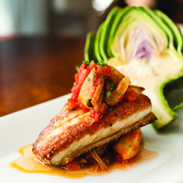 Pan Roasted Grouper with Artichoke Caponata
