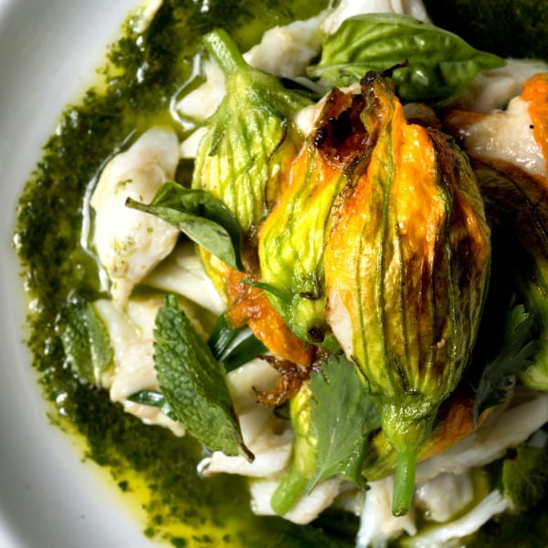 Crab-Stuffed Squash Blossoms with Salsa Verde