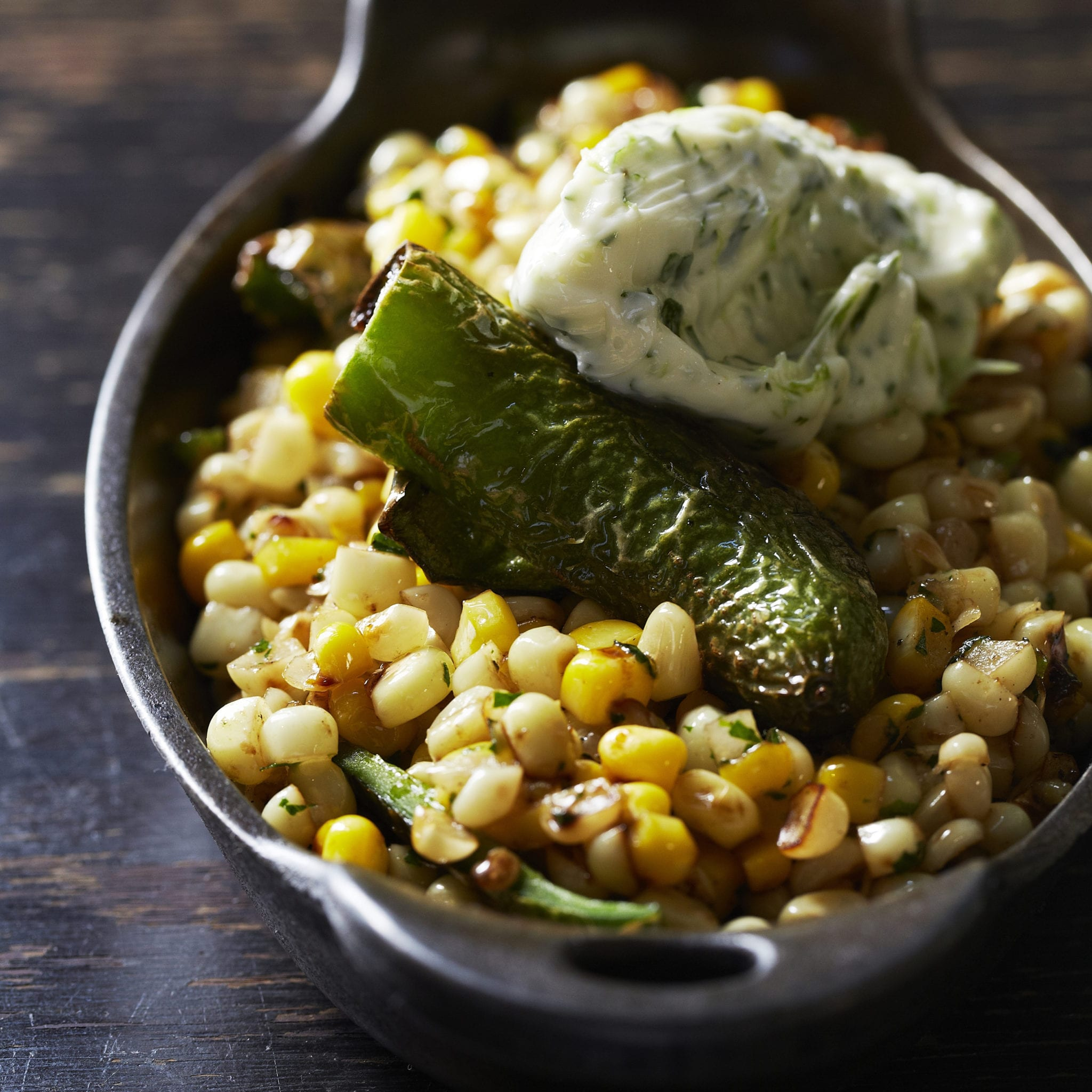 Skillet Corn with Padron Peppers and Cilantro-Lime ...