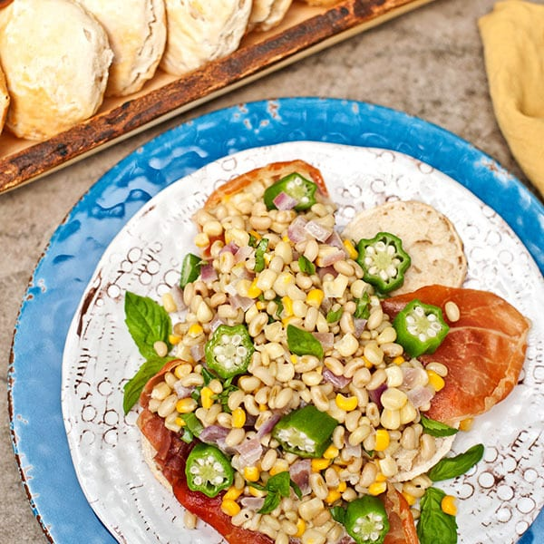 Field Pea Succotash over Ham Biscuits