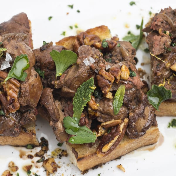 Cast-Iron Chicken Liver Toast with Woodford Reserve, Spiced Pecans, and Mint