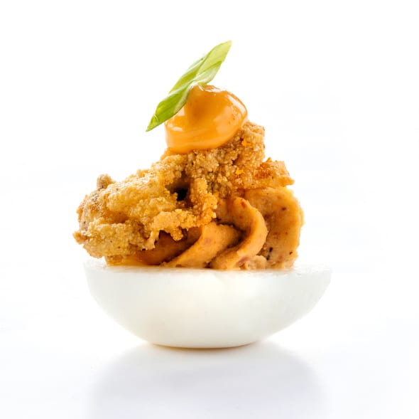 Tasso Deviled Eggs with Fried Oyster and Sriracha Aioli