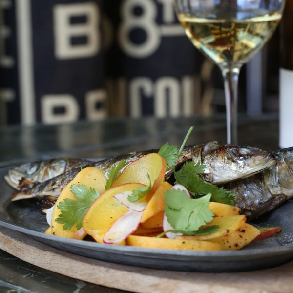 Grilled Sardines with Pickled Peach Salad