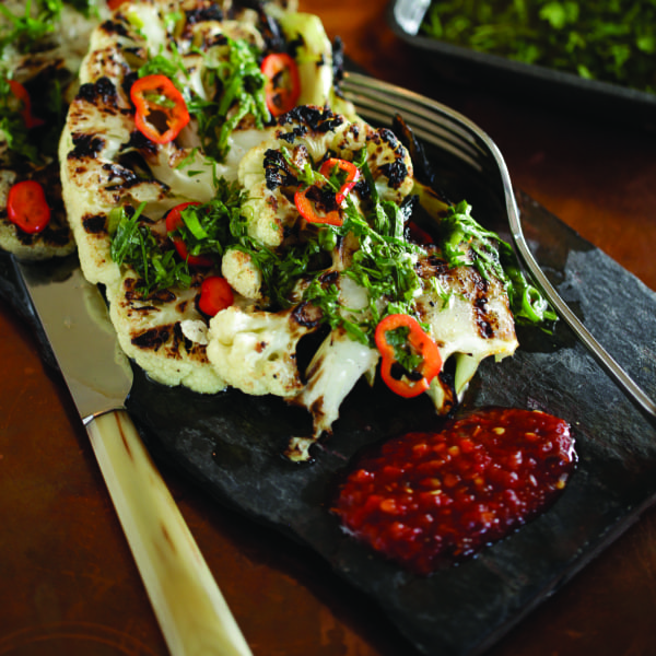Grilled Cauliflower with Fresno Chili and Chimmi Churri