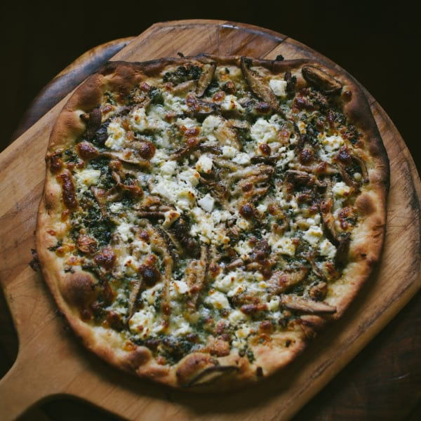 Roasted Garlic, Basil and Shitake Mushroom Pizza