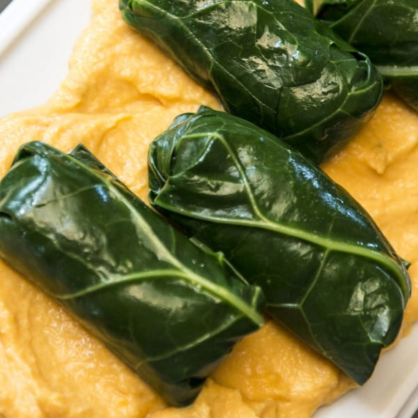 Collard Dolmades with Sweet Potato Yogurt