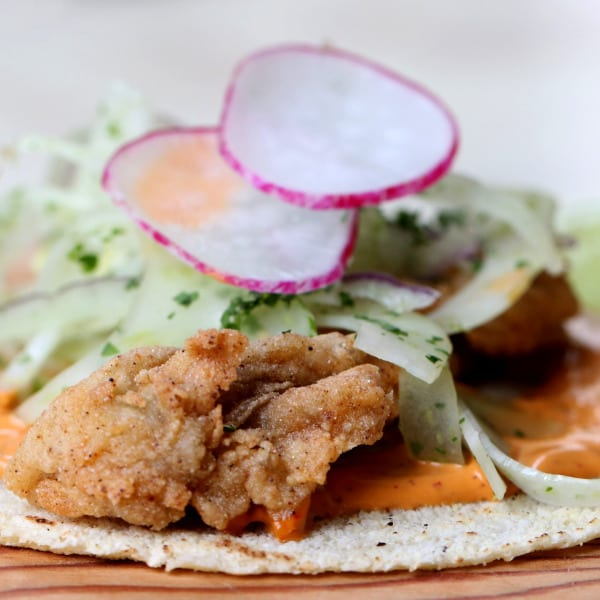Fried Oyster Taco with Fennel Slaw, Chipotle Crema, and Radish