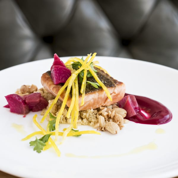 Wild Salmon with Beets and Orange Vinaigrette