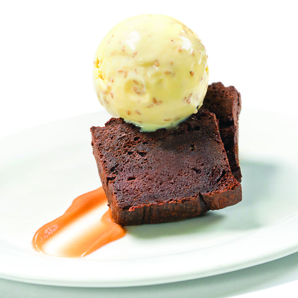 Chocolate Bread Pudding with Benne Ice Cream