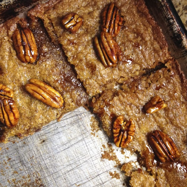 Molasses Ginger Cookies with Bourbon-Glazed Pecans