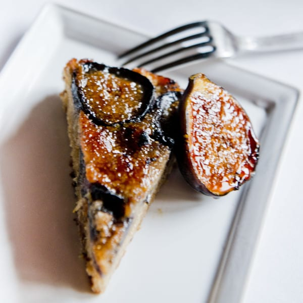 Cast Iron Brown Butter Fig Upside Down Cake with Spiced Rum Caramel