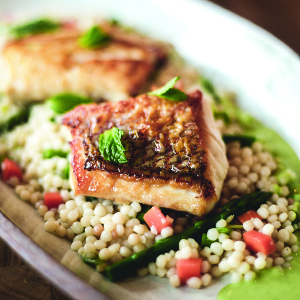 Red Snapper with Israeli Couscous and A Sweet Pea Mint Sauce