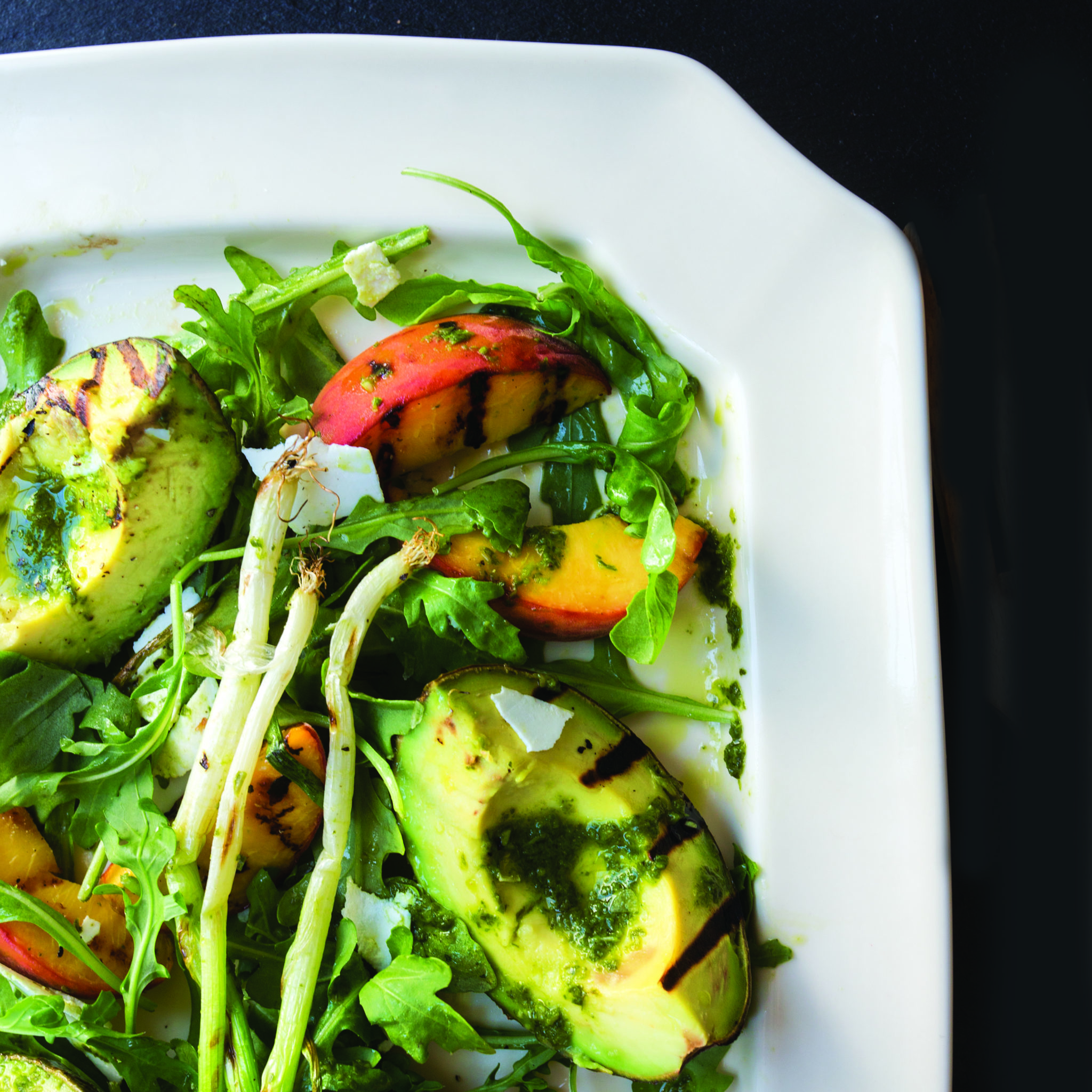 Grilled Peach and Avocado Salad with Basil Vinaigrette | The Local ...