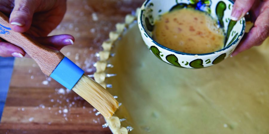 Brushing Pie Crust with Tiny Leaves