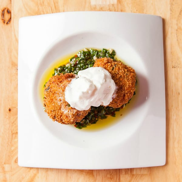 Savory Carrot Cakes and Carrot Top Salsa Verde