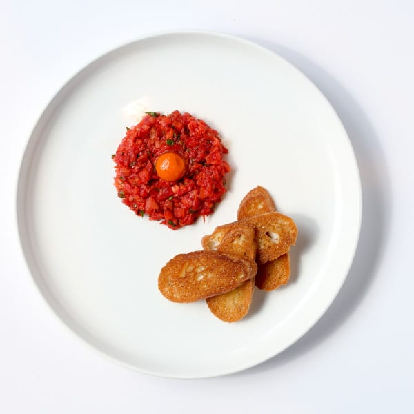 "Tomato Tartare with Carrot ""Yolk"""