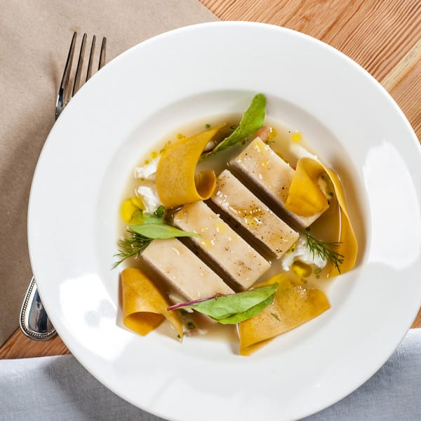 Roasted Cobia with Pickled Squash, Rock Crab, and Ham Broth
