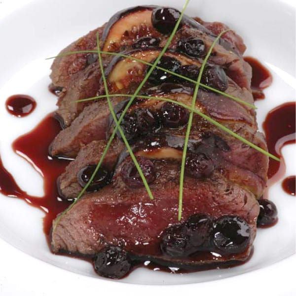 Sauteed Venison Tenderloin in a Port + Huckleberry Reduction