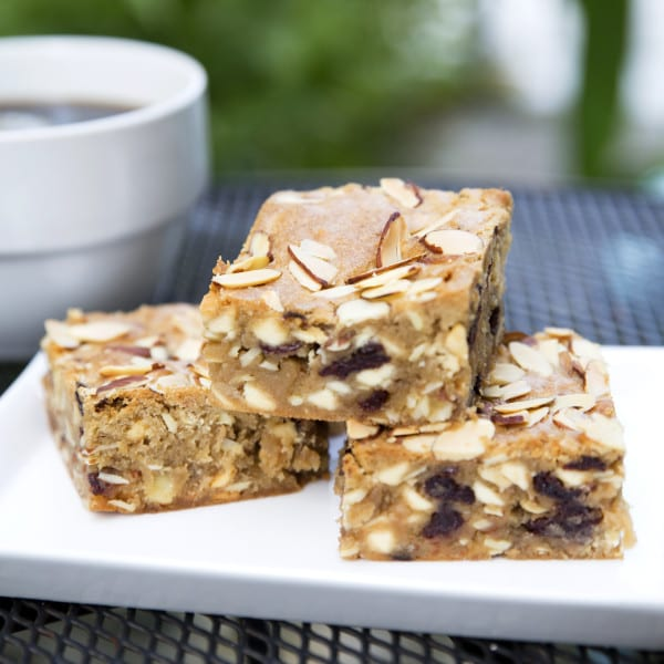 A twist on Wild Flour's blondie recipe, this bar is almost an 'adult' blondie. It hits all the notes, with tart cherries, crunchy almonds, and sweet white chocolate.