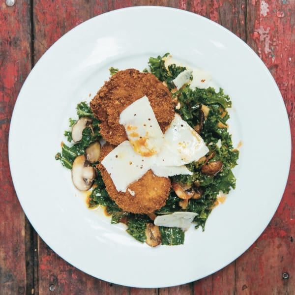 Black Eyed Pea Cakes Recipe with Kale Salad and Mushroom Vinaigrette from New Orleans Sylvain