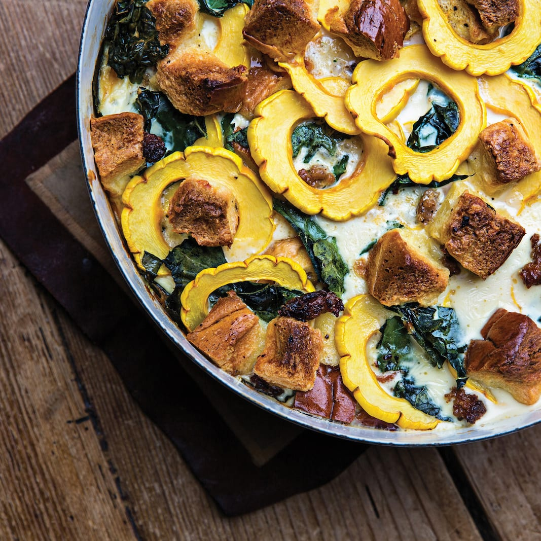Delicata Squash, Kale, and Sausage Bread Pudding
