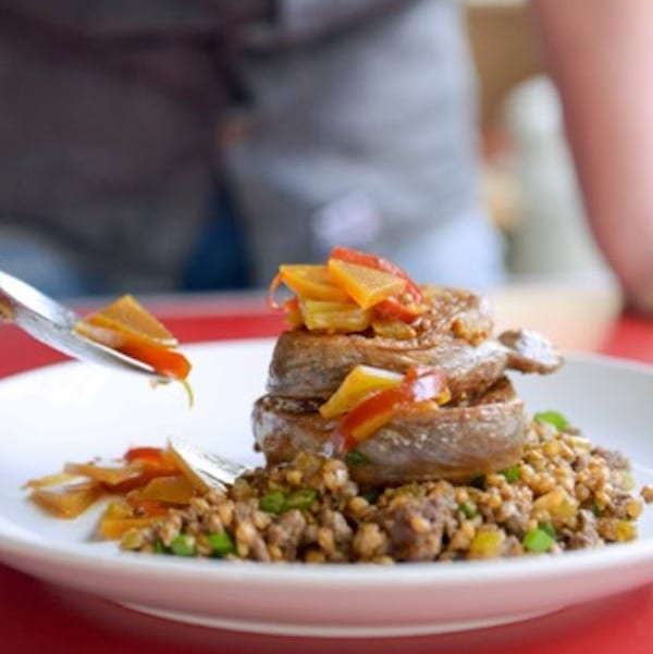 Tom Thumb with Dirty Farro and Rutabaga Relish