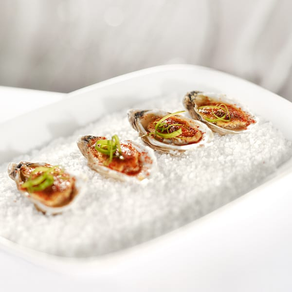 Roasted Oysters with XO-Egg Sauce