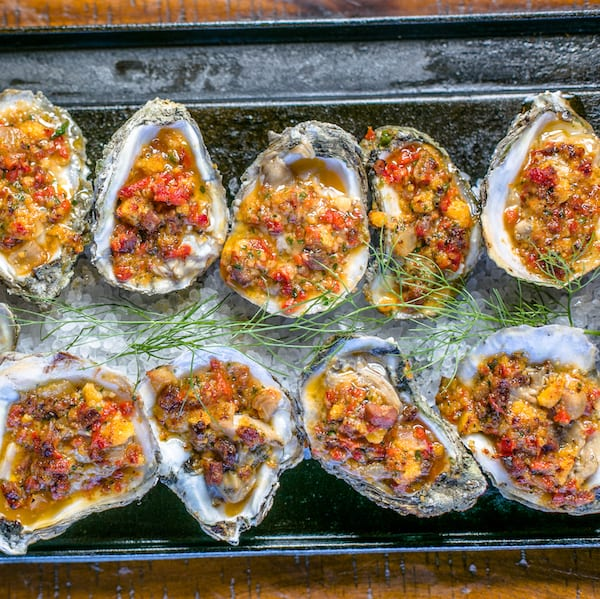 Frog Hollow Andouille and Cornbread Stuffed Oysters