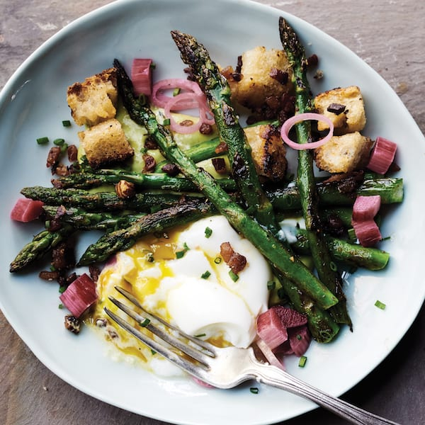 Roasted Asparagus with Rhubarb Relish and Creamy Herb Dressing