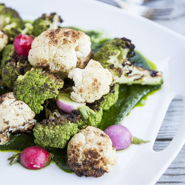 Grilled Cauliflower and Broccoli with Spicy Herb Oil