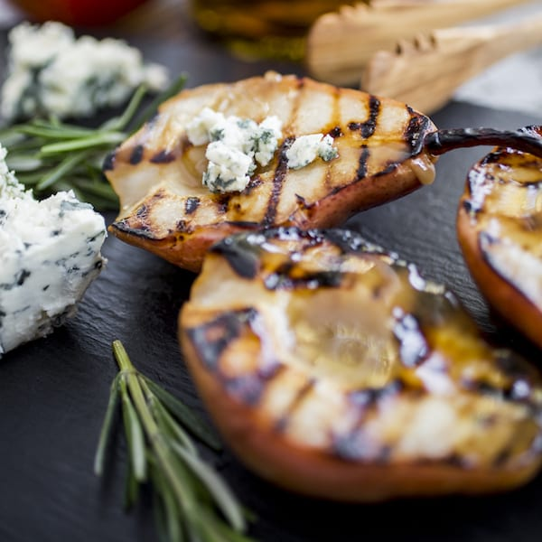 Bourbon-Glazed Pears With Blue Cheese