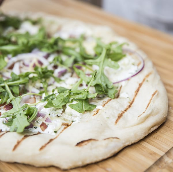 Grilled Pizza with Ricotta, Pancetta, and Arugula