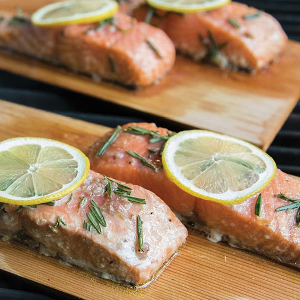 Marinated and Grilled Plank Salmon