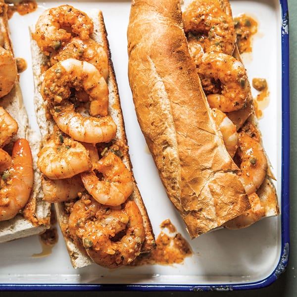 Spicy Asian Cajun BBQ Shrimp with Grilled Baguette