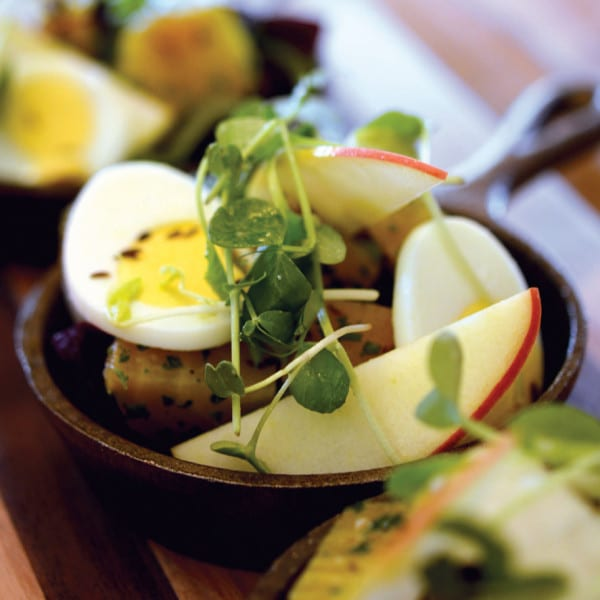 Warm Roasted Beets with Leeks, Toasted Caraway, Apple, and Hard-Boiled Egg