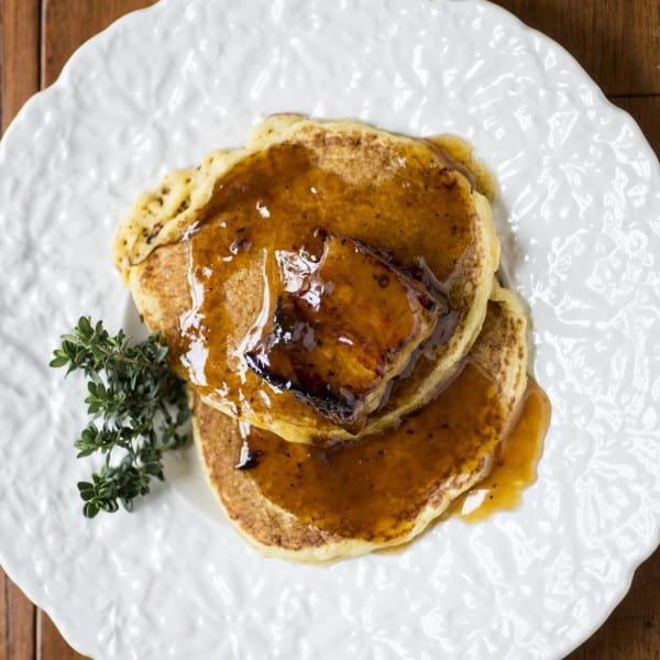 Buttermilk Corn Cakes and Pork Belly with Bourbon Honey Dijon