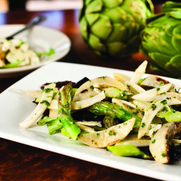Grilled Artichokes with Asparagus, Fennel, and Parmesan in Lemon Vinaigrette