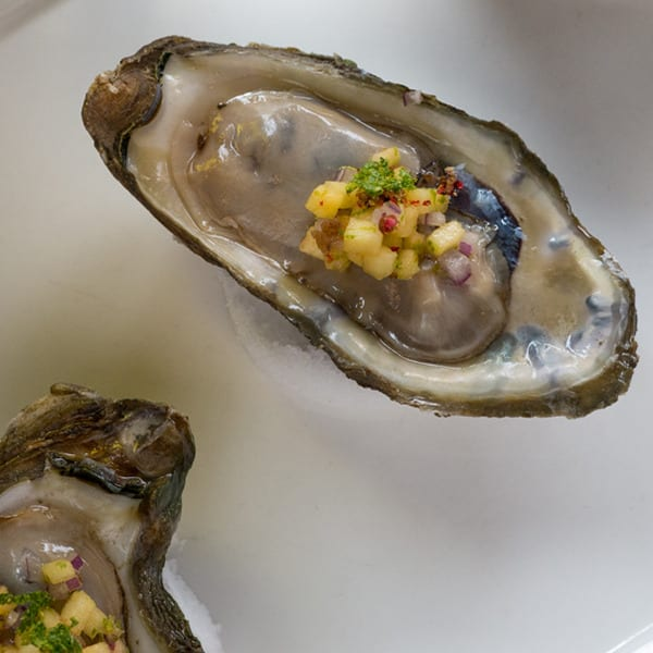 Local Select Oysters on the Half Shell with Green Peach Mignonette