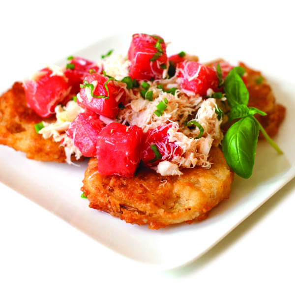 "Fried Green Tomato ""Caprese"" with Crab, Watermelon, and Arnold Palmer Vinaigrette"