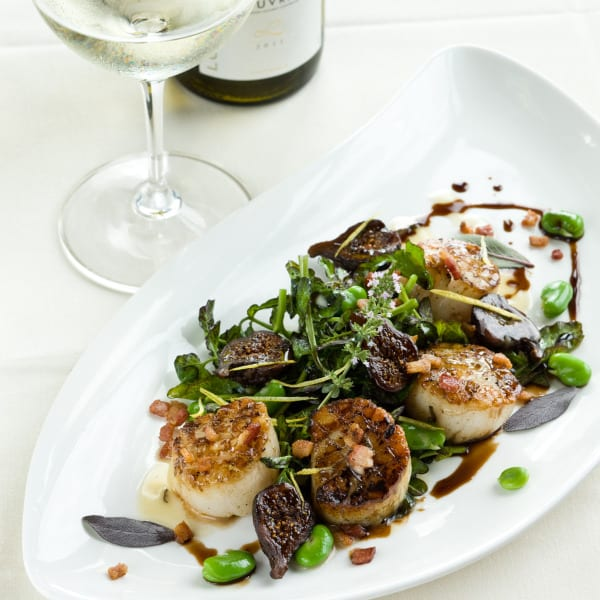Scallops with Caramelized Fig, Benton's Bacon, and Fava Beans