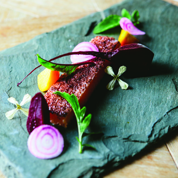 Sumac-Dusted Smoked Trout with Beets and Arugula