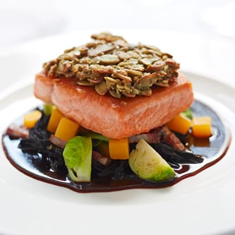 Pumpkin Seed Crusted Salmon with Stayman Apple Cider Jus