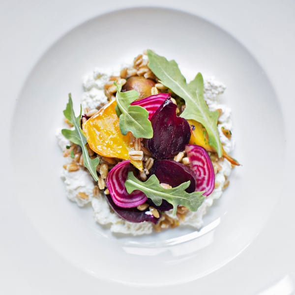 Roasted Baby Beets and Farro on Honeyed Ricotta with Walnuts