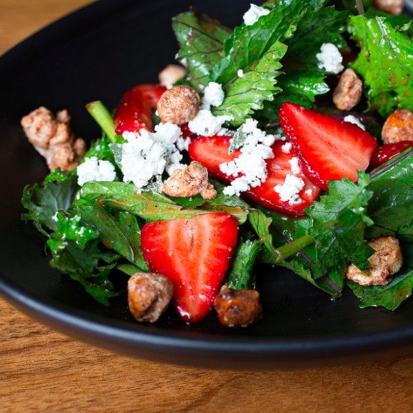 Strawberry Salad with Cocoa-dusted Hazelnuts
