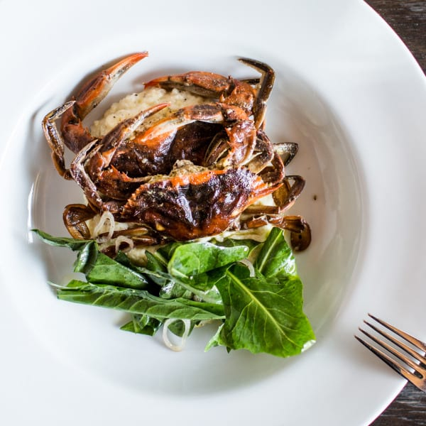 Soft Shell Crab with Lemon Grits and Salad of Summer Greens