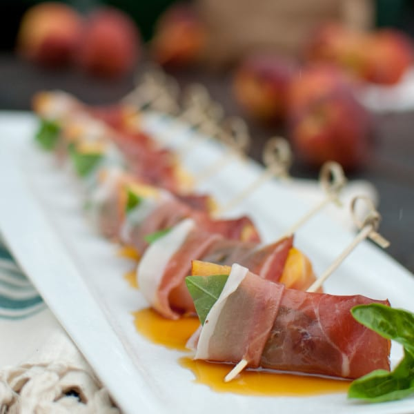 Prosciutto-Wrapped Peaches with Sorghum