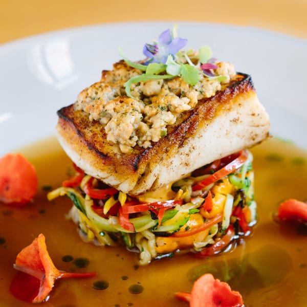 Cashew-Crusted Halibut, Shaved and Charred Vegetables, Wild Mushroom Broth
